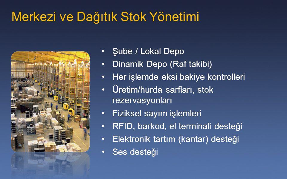 Şube / Lokal Depo Dinamik Depo (Raf takibi) Her işlemde eksi bakiye kontrolleri Üretim/hurda sarfları, stok rezervasyonları Fiziksel sayım işlemleri R