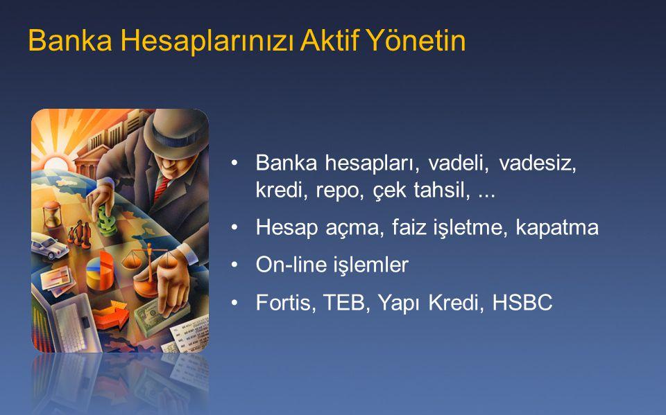 Banka Hesaplarınızı Aktif Yönetin Banka hesapları, vadeli, vadesiz, kredi, repo, çek tahsil,... Hesap açma, faiz işletme, kapatma On-line işlemler For