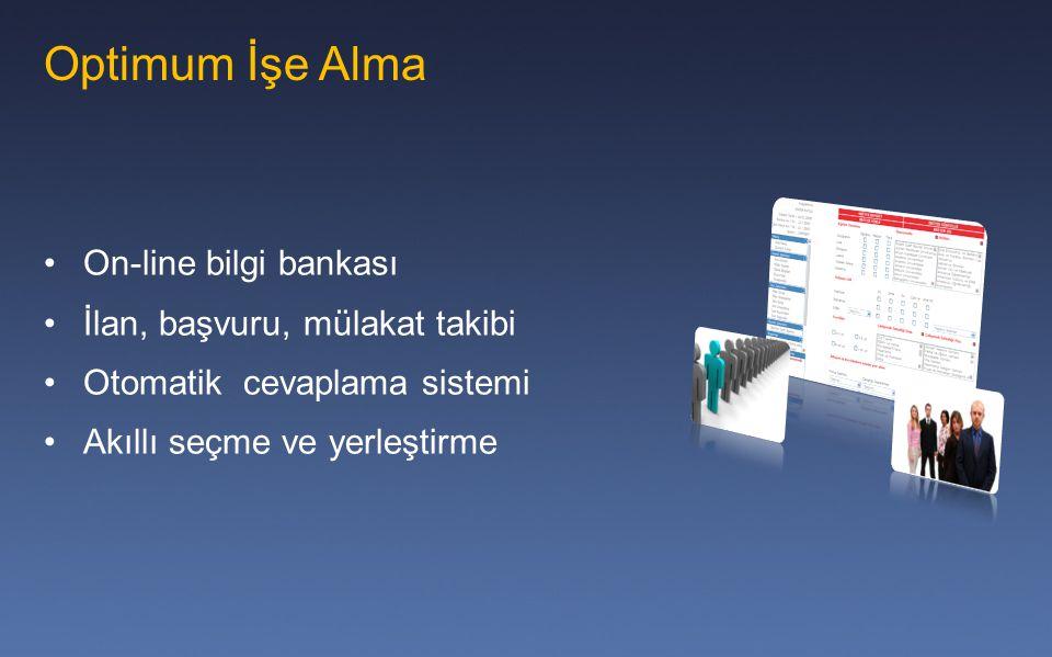 Optimum İşe Alma On-line bilgi bankası İlan, başvuru, mülakat takibi Otomatik cevaplama sistemi Akıllı seçme ve yerleştirme
