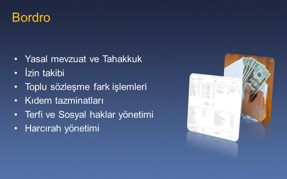 Bordro Yasal mevzuat ve Tahakkuk İzin takibi Toplu sözleşme fark işlemleri Kıdem tazminatları Terfi ve Sosyal haklar yönetimi Harcırah yönetimi