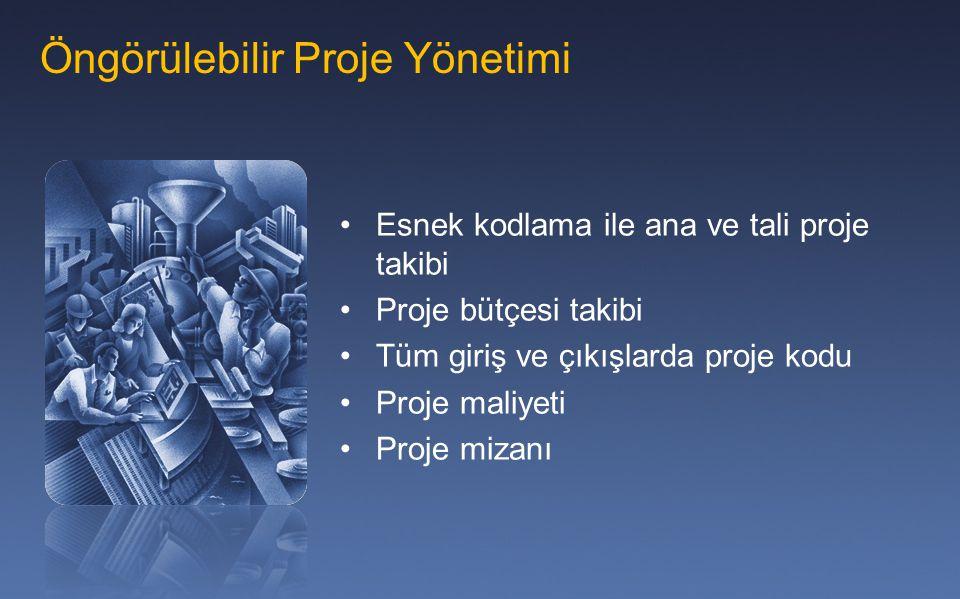 Öngörülebilir Proje Yönetimi Esnek kodlama ile ana ve tali proje takibi Proje bütçesi takibi Tüm giriş ve çıkışlarda proje kodu Proje maliyeti Proje m