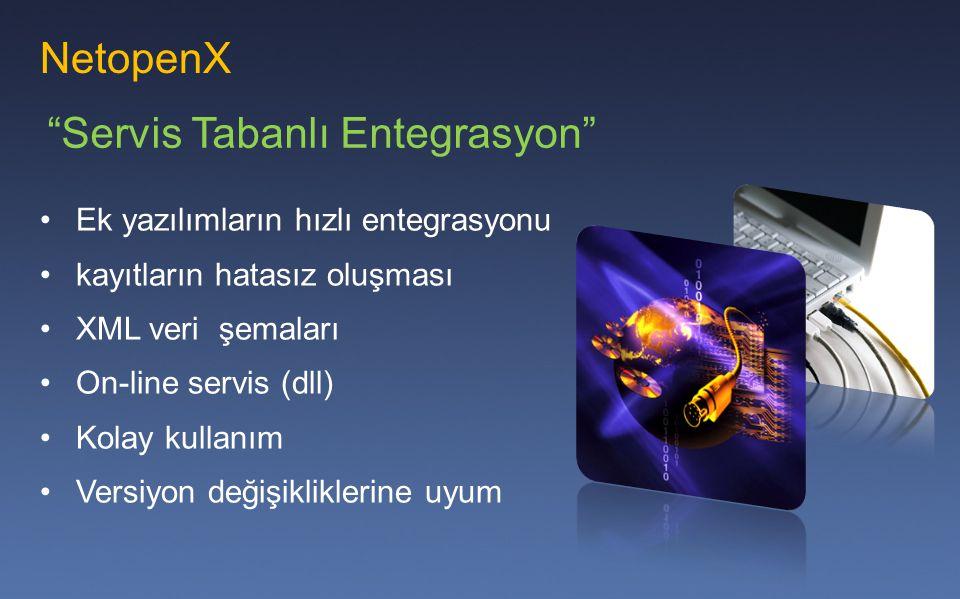 NetopenX Ek yazılımların hızlı entegrasyonu kayıtların hatasız oluşması XML veri şemaları On-line servis (dll) Kolay kullanım Versiyon değişikliklerin