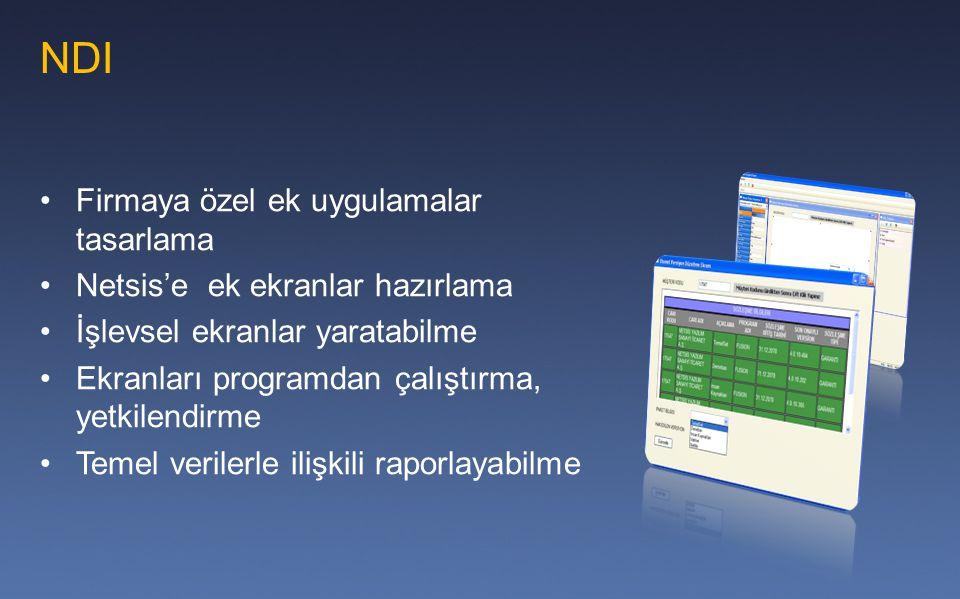 NDI Firmaya özel ek uygulamalar tasarlama Netsis'e ek ekranlar hazırlama İşlevsel ekranlar yaratabilme Ekranları programdan çalıştırma, yetkilendirme