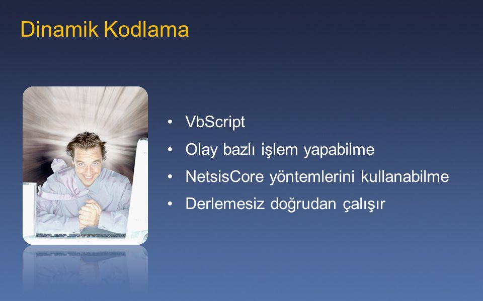 Dinamik Kodlama VbScript Olay bazlı işlem yapabilme NetsisCore yöntemlerini kullanabilme Derlemesiz doğrudan çalışır