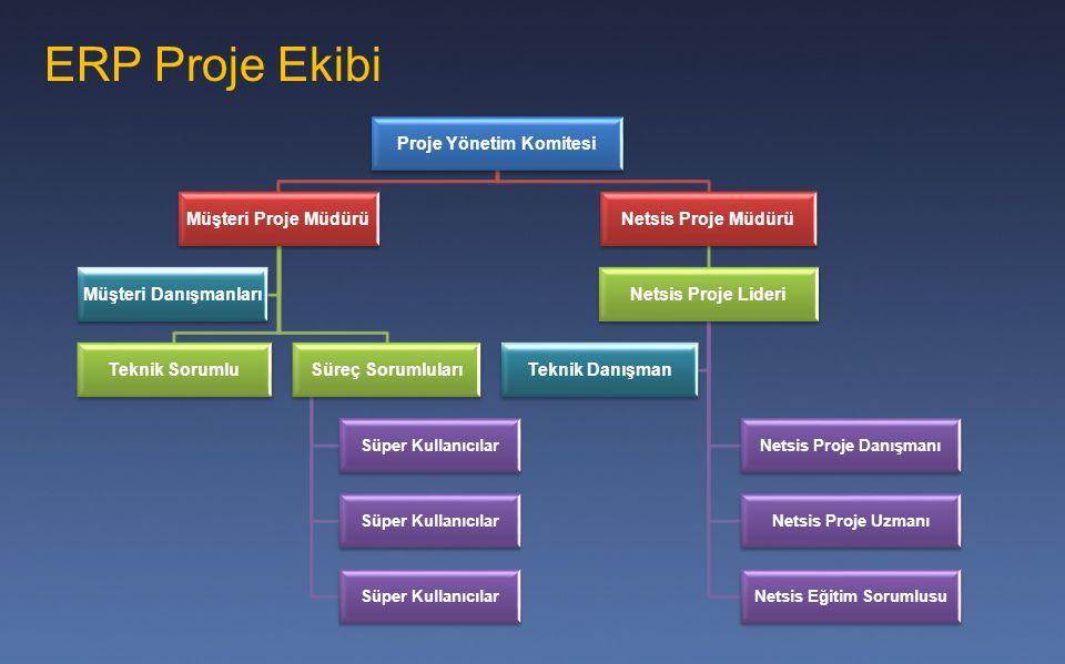 ERP Proje Ekibi Proje Yönetim Komitesi Müşteri Proje Müdürü Teknik SorumluSüreç Sorumluları Süper Kullanıcılar Müşteri Danışmanları Netsis Proje Müdür