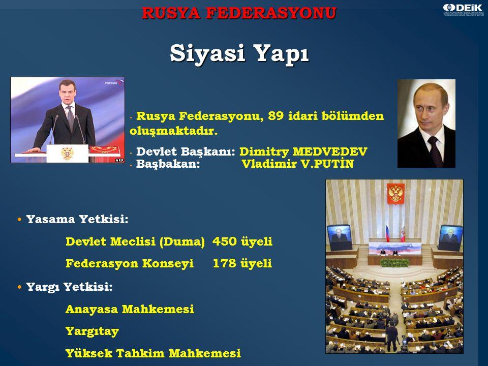 3 RUSYA FEDERASYONU Siyasi Yapı Rusya Federasyonu, 89 idari bölümden oluşmaktadır.