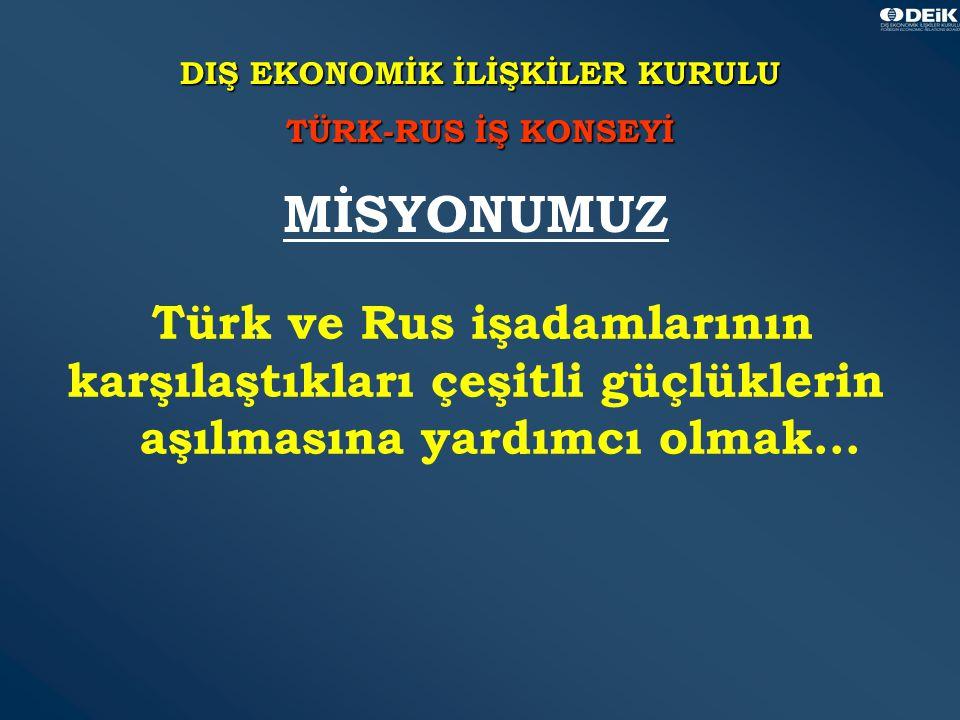 37 DIŞ EKONOMİK İLİŞKİLER KURULU TÜRK-RUS İŞ KONSEYİ Türk ve Rus işadamlarının karşılaştıkları çeşitli güçlüklerin aşılmasına yardımcı olmak...