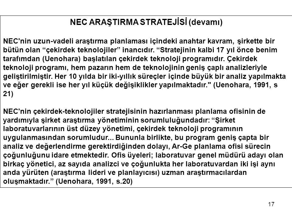 """17 NEC ARAŞTIRMA STRATEJİSİ (devamı) NEC'nin uzun-vadeli araştırma planlaması içindeki anahtar kavram, şirkette bir bütün olan """"çekirdek teknolojiler"""""""