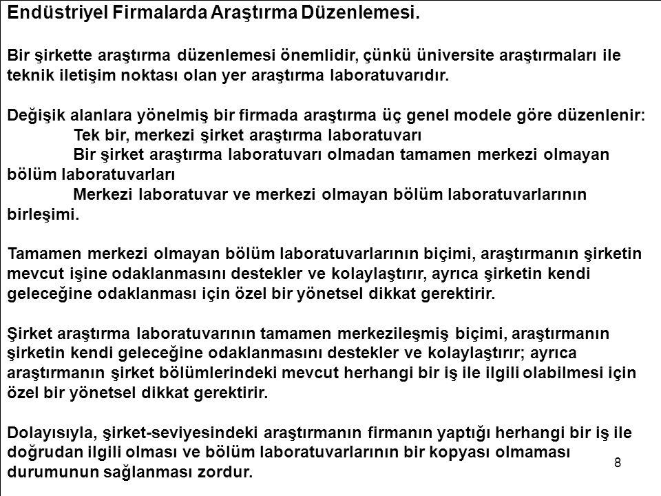 8 Endüstriyel Firmalarda Araştırma Düzenlemesi.