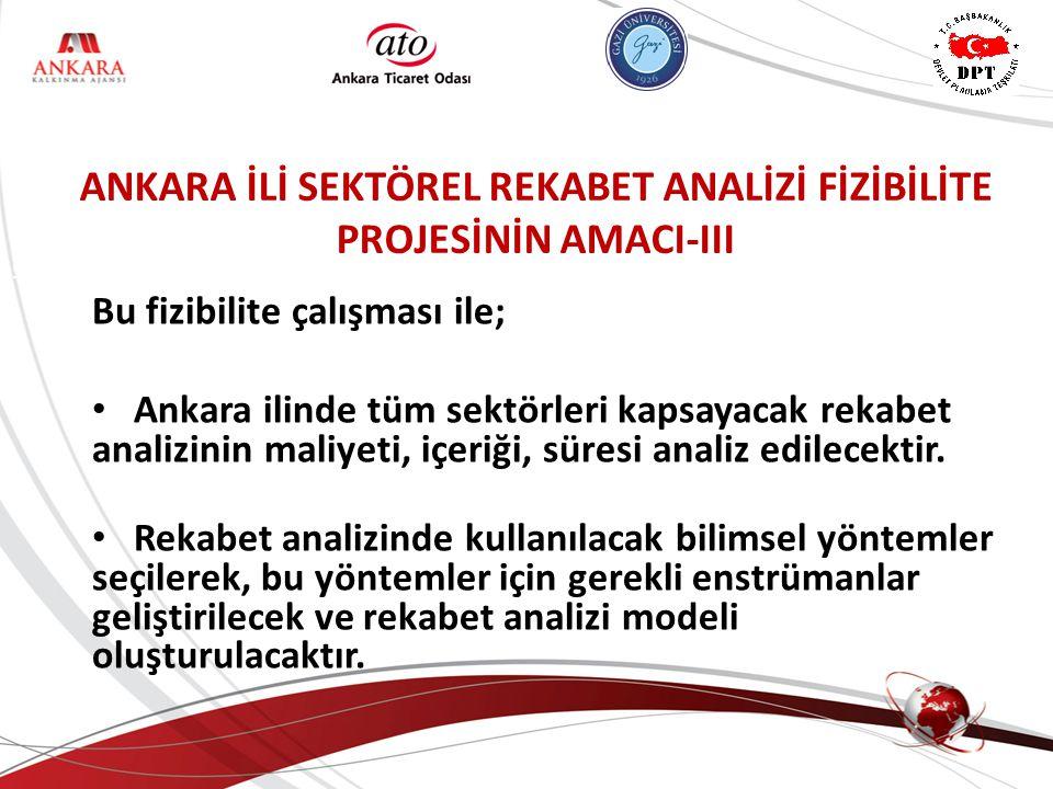 ANKARA KALKINMA AJANSI ANKARA İLİ SEKTÖREL REKABET ANALİZİ FİZİBİLİTE PROJESİNİN AMACI-III Bu fizibilite çalışması ile; Ankara ilinde tüm sektörleri k