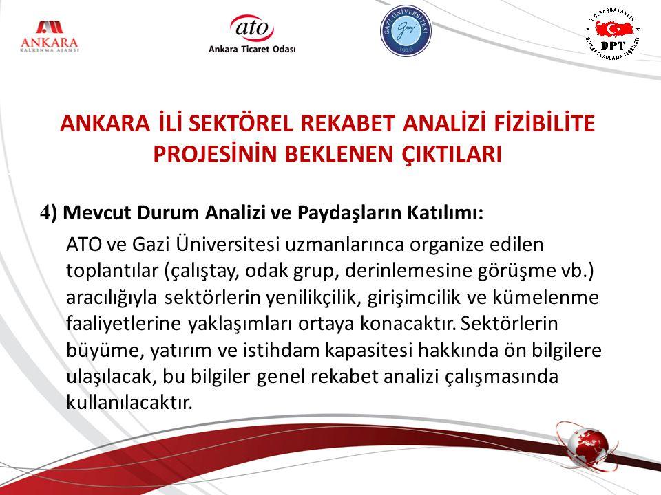 ANKARA KALKINMA AJANSI 4 ) Mevcut Durum Analizi ve Paydaşların Katılımı: ATO ve Gazi Üniversitesi uzmanlarınca organize edilen toplantılar (çalıştay,