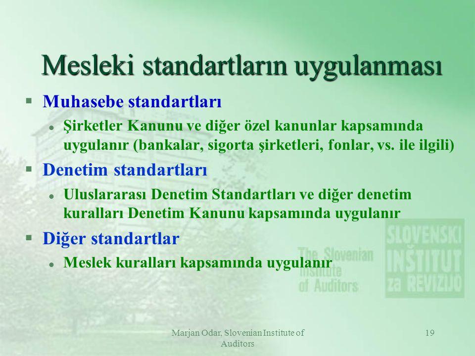 Marjan Odar, Slovenian Institute of Auditors 19 Mesleki standartların uygulanması §Muhasebe standartları l Şirketler Kanunu ve diğer özel kanunlar kapsamında uygulanır (bankalar, sigorta şirketleri, fonlar, vs.