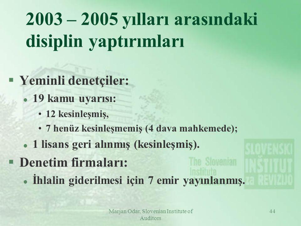 Marjan Odar, Slovenian Institute of Auditors 44 2003 – 2005 yılları arasındaki disiplin yaptırımları §Yeminli denetçiler: l 19 kamu uyarısı: 12 kesinleşmiş, 7 henüz kesinleşmemiş (4 dava mahkemede); l 1 lisans geri alınmış (kesinleşmiş).
