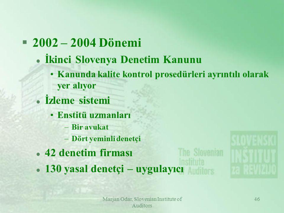 Marjan Odar, Slovenian Institute of Auditors 46 §2002 – 2004 Dönemi l İkinci Slovenya Denetim Kanunu Kanunda kalite kontrol prosedürleri ayrıntılı olarak yer alıyor l İzleme sistemi Enstitü uzmanları –Bir avukat –Dört yeminli denetçi l 42 denetim firması l 130 yasal denetçi – uygulayıcı