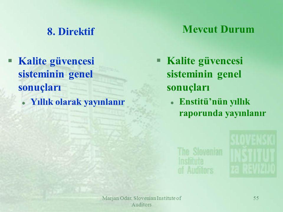 Marjan Odar, Slovenian Institute of Auditors 55 8. Direktif §Kalite güvencesi sisteminin genel sonuçları l Yıllık olarak yayınlanır Mevcut Durum §Kali