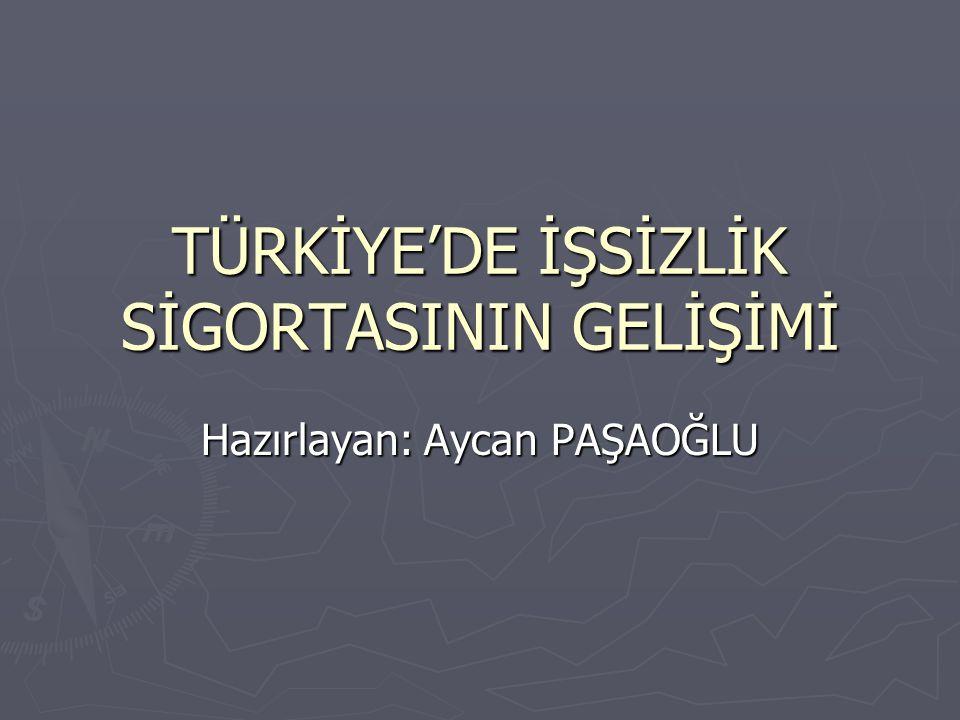 TÜRKİYE'DE İŞSİZLİK SİGORTASININ GELİŞİMİ Hazırlayan: Aycan PAŞAOĞLU