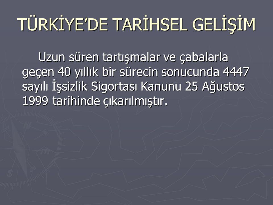 TÜRKİYE'DE TARİHSEL GELİŞİM Uzun süren tartışmalar ve çabalarla geçen 40 yıllık bir sürecin sonucunda 4447 sayılı İşsizlik Sigortası Kanunu 25 Ağustos