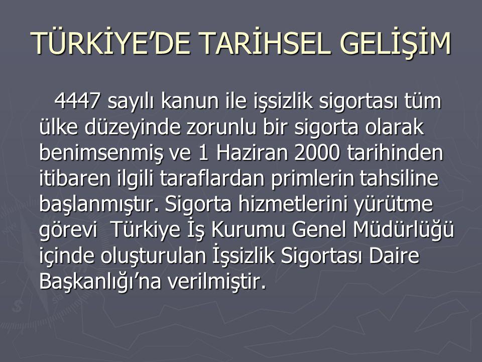 TÜRKİYE'DE TARİHSEL GELİŞİM 4447 sayılı kanun ile işsizlik sigortası tüm ülke düzeyinde zorunlu bir sigorta olarak benimsenmiş ve 1 Haziran 2000 tarih