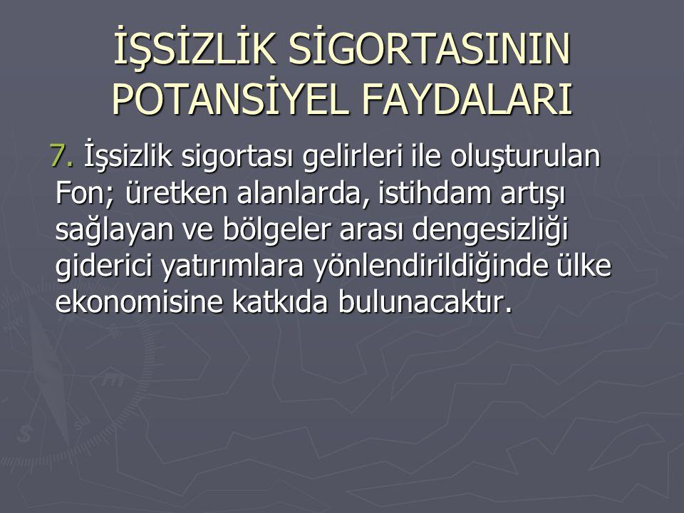 İŞSİZLİK SİGORTASININ POTANSİYEL FAYDALARI 7. İşsizlik sigortası gelirleri ile oluşturulan Fon; üretken alanlarda, istihdam artışı sağlayan ve bölgele