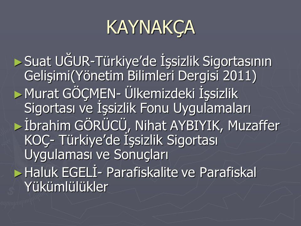 KAYNAKÇA ► Suat UĞUR-Türkiye'de İşsizlik Sigortasının Gelişimi(Yönetim Bilimleri Dergisi 2011) ► Murat GÖÇMEN- Ülkemizdeki İşsizlik Sigortası ve İşsiz