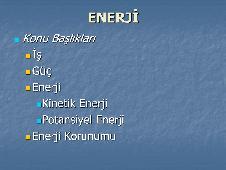 ENERJİ Konu Başlıkları Konu Başlıkları İş İş Güç Güç Enerji Enerji Kinetik Enerji Kinetik Enerji Potansiyel Enerji Potansiyel Enerji Enerji Korunumu Enerji Korunumu