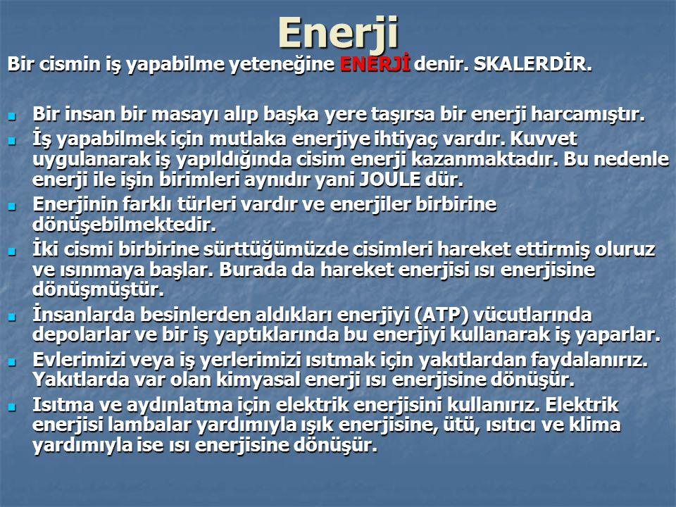 Enerji Bir cismin iş yapabilme yeteneğine ENERJİ denir.