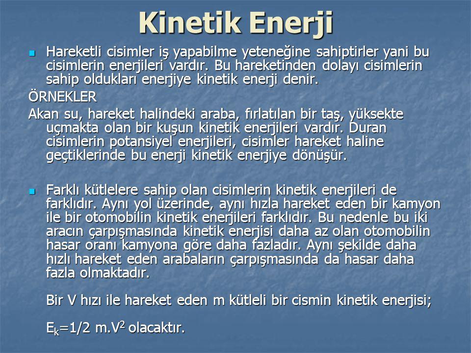 Kinetik Enerji Yukarıdaki arabanın kinetik enerjisini hesaplayacak olursak; E k =1/2m.V 2 Yukarıdaki arabanın kinetik enerjisini hesaplayacak olursak; E k =1/2m.V 2 E k =1/2.1100.80 2 E k =1/2.1100.80 2 E k =3 520 000 joule.