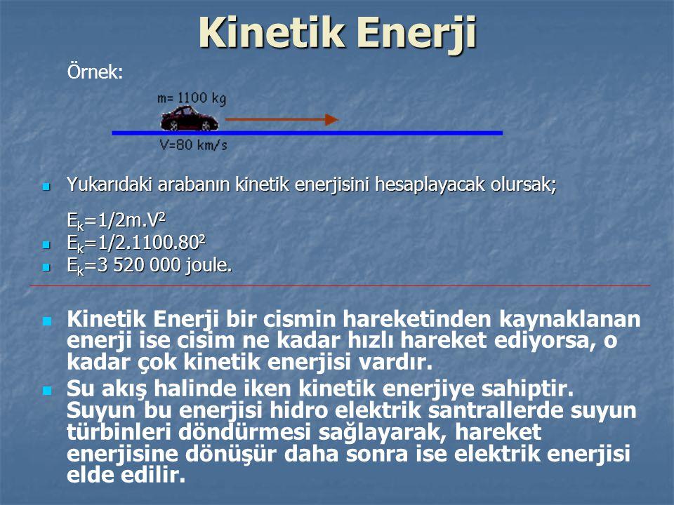 Kinetik Enerji Yukarıdaki arabanın kinetik enerjisini hesaplayacak olursak; E k =1/2m.V 2 Yukarıdaki arabanın kinetik enerjisini hesaplayacak olursak;