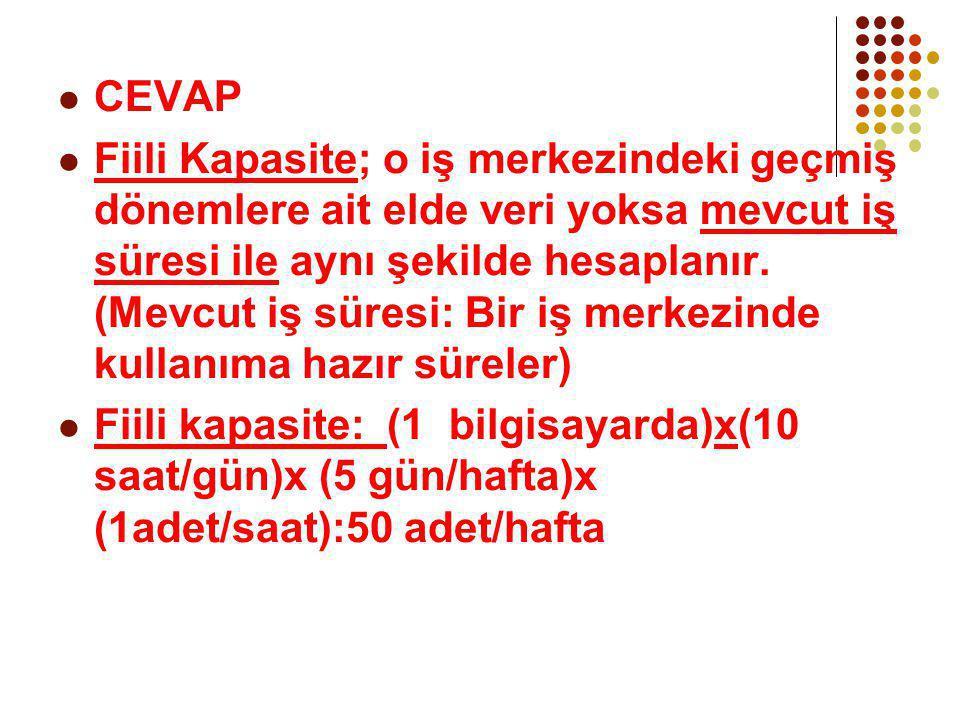 CEVAP Fiili Kapasite; o iş merkezindeki geçmiş dönemlere ait elde veri yoksa mevcut iş süresi ile aynı şekilde hesaplanır. (Mevcut iş süresi: Bir iş m