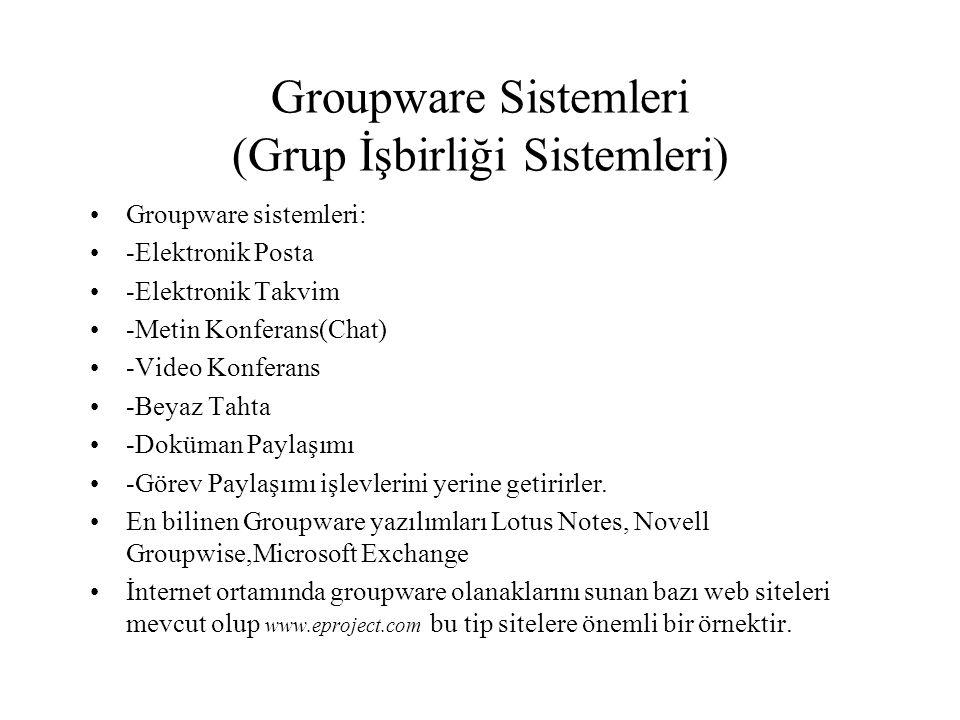 Groupware Sistemleri (Grup İşbirliği Sistemleri) Groupware sistemleri: -Elektronik Posta -Elektronik Takvim -Metin Konferans(Chat) -Video Konferans -Beyaz Tahta -Doküman Paylaşımı -Görev Paylaşımı işlevlerini yerine getirirler.