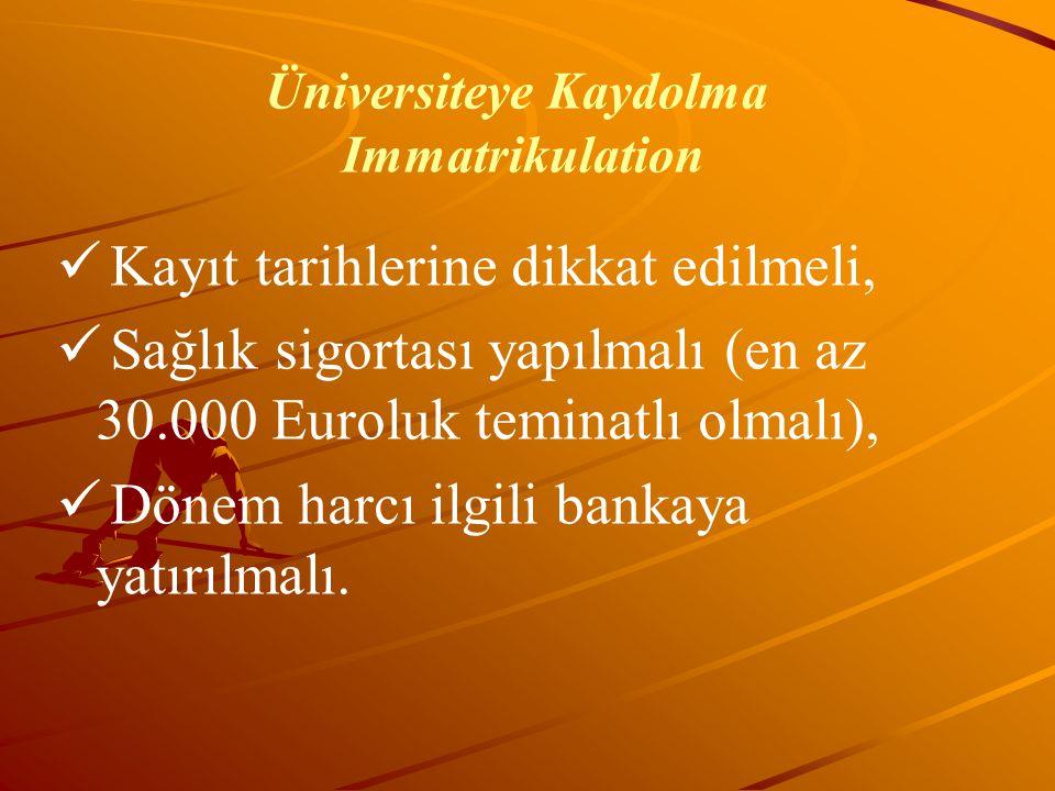 Üniversiteye Kaydolma Immatrikulation Kayıt tarihlerine dikkat edilmeli, Sağlık sigortası yapılmalı (en az 30.000 Euroluk teminatlı olmalı), Dönem har