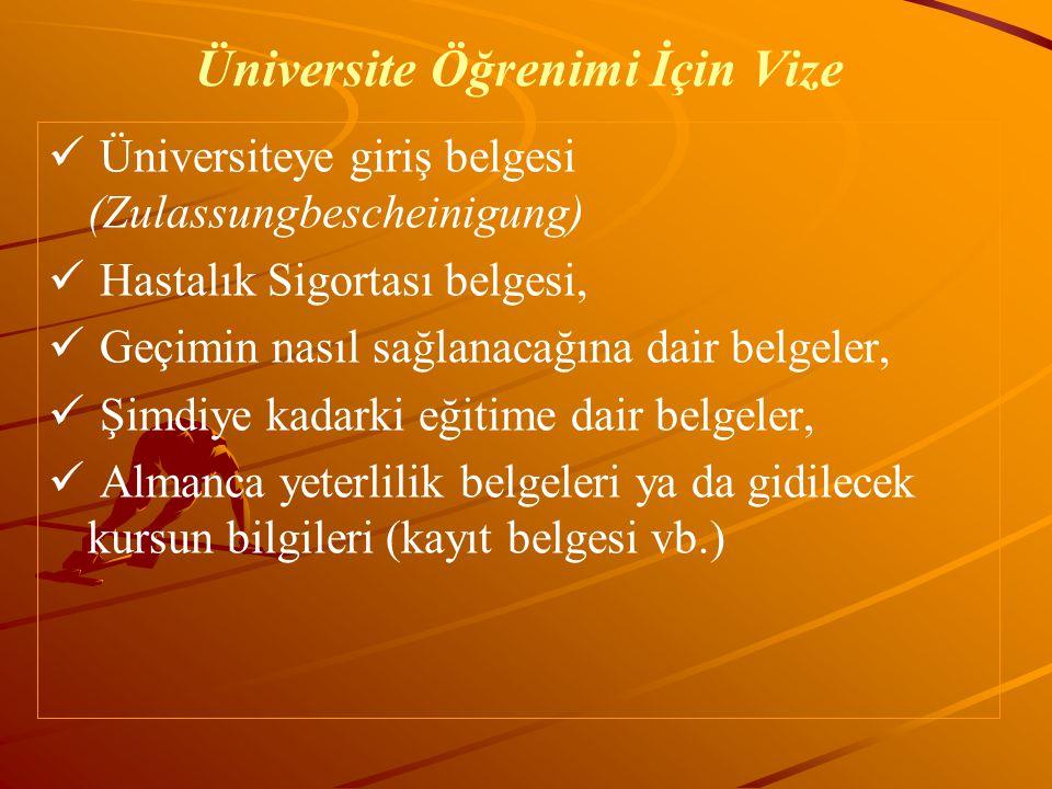 Üniversite Öğrenimi İçin Vize Üniversiteye giriş belgesi (Zulassungbescheinigung) Hastalık Sigortası belgesi, Geçimin nasıl sağlanacağına dair belgele