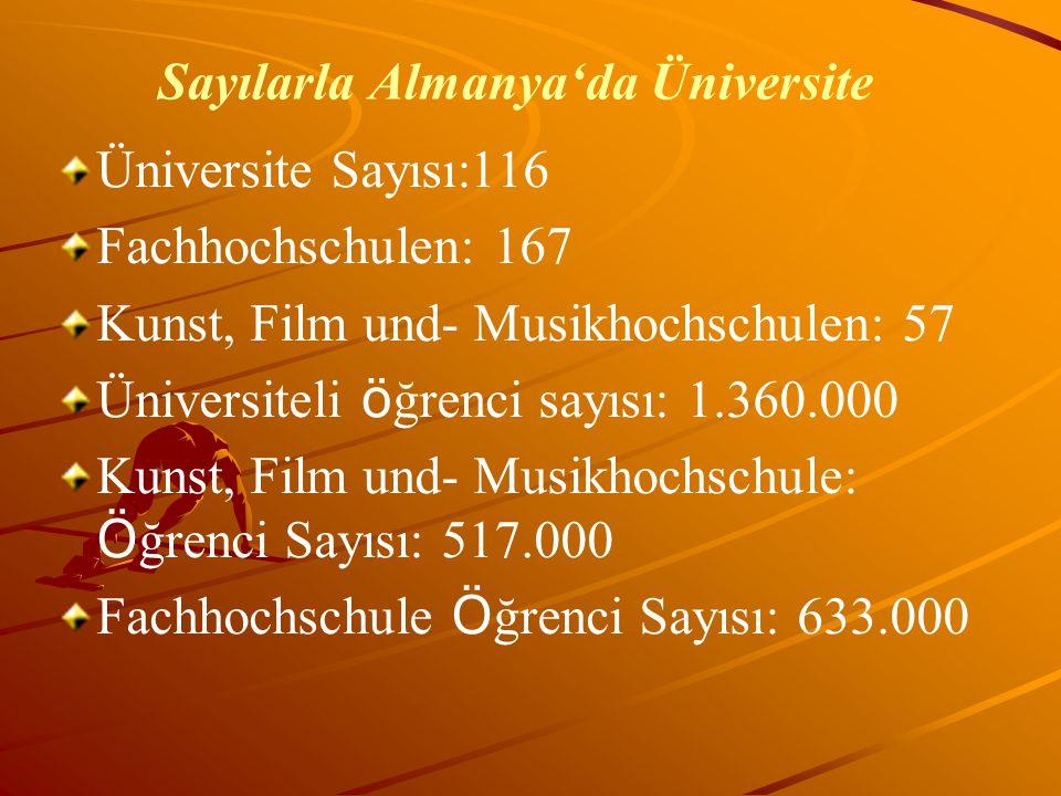 Sayılarla Almanya'da Üniversite Üniversite Sayısı:116 Fachhochschulen: 167 Kunst, Film und- Musikhochschulen: 57 Üniversiteli ö ğrenci sayısı: 1.360.0