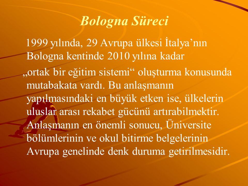 """Bologna Süreci 1999 yılında, 29 Avrupa ülkesi İtalya'nın Bologna kentinde 2010 yılına kadar """"ortak bir eğitim sistemi"""" oluşturma konusunda mutabakata"""