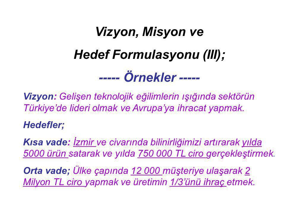 Vizyon, Misyon ve Hedef Formulasyonu (III); ----- Örnekler ----- Vizyon: Gelişen teknolojik eğilimlerin ışığında sektörün Türkiye'de lideri olmak ve A