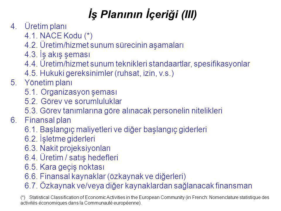 İş Planının İçeriği (III) 4.Üretim planı 4.1. NACE Kodu (*) 4.2. Üretim/hizmet sunum sürecinin aşamaları 4.3. İş akış şeması 4.4. Üretim/hizmet sunum
