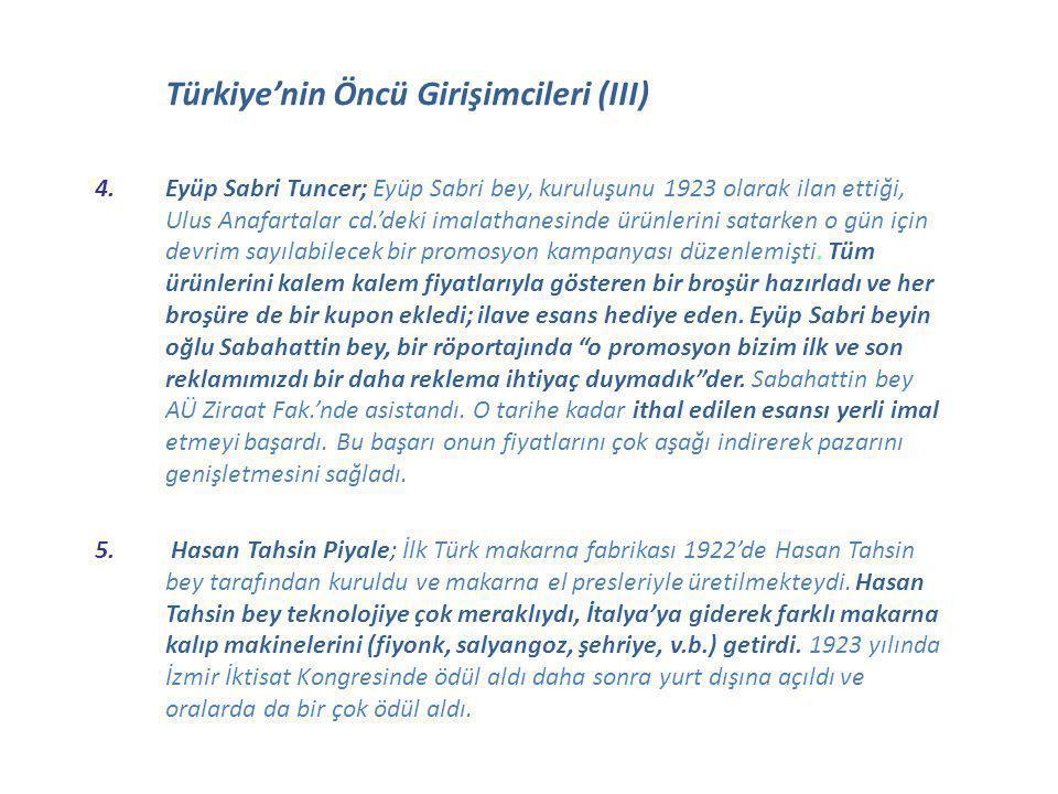 Türkiye'nin Öncü Girişimcileri (III) 4.Eyüp Sabri Tuncer; Eyüp Sabri bey, kuruluşunu 1923 olarak ilan ettiği, Ulus Anafartalar cd.'deki imalathanesind