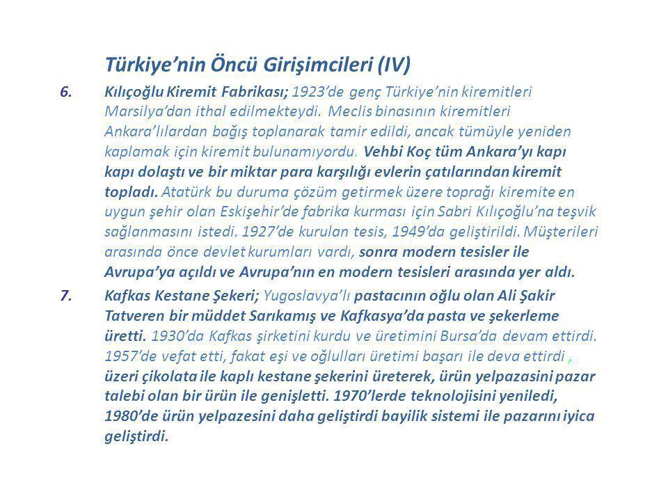 Türkiye'nin Öncü Girişimcileri (IV) 6.Kılıçoğlu Kiremit Fabrikası; 1923'de genç Türkiye'nin kiremitleri Marsilya'dan ithal edilmekteydi. Meclis binası
