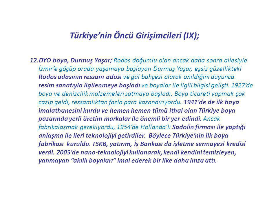 Türkiye'nin Öncü Girişimcileri (IX); 12.DYO boya, Durmuş Yaşar; Rodos doğumlu olan ancak daha sonra ailesiyle İzmir'e göçüp orada yaşamaya başlayan Du