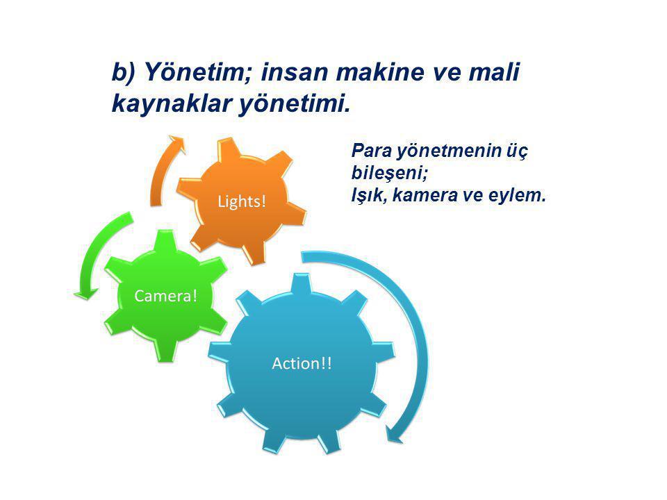 b) Yönetim; insan makine ve mali kaynaklar yönetimi. Para yönetmenin üç bileşeni; Işık, kamera ve eylem.