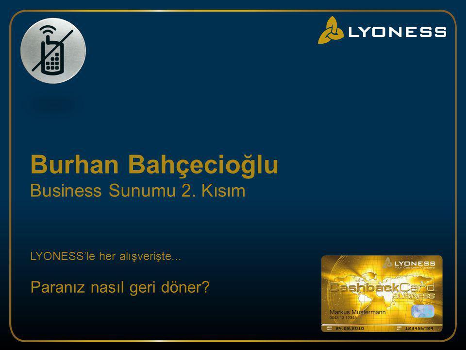 Burhan Bahçecioğlu Business Sunumu 2. Kısım LYONESS'le her alışverişte... Paran ı z nas ı l geri döner?