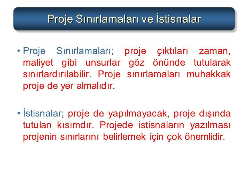 Proje Sınırlamaları ve İstisnalar Proje Sınırlamaları; proje çıktıları zaman, maliyet gibi unsurlar göz önünde tutularak sınırlardırılabilir. Proje sı
