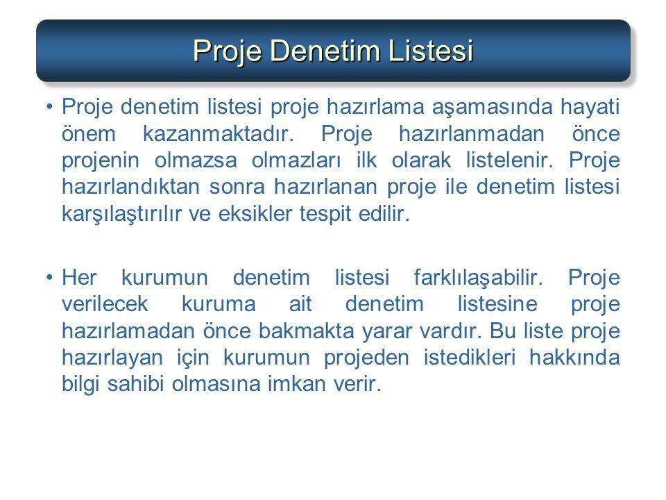 Proje Denetim Listesi (Devam) Proje denetim listesinde; –Projenin amacı (ne, ne kadar, ne zaman) –Projenin aktarılabilir çıktıları (proje ömrü boyunca beklenen çıktılar) –Kilometre Taşları (kontrol noktaları) –Teknik gereksinimler –Projenin limitler ve istisnalar –Müşteri görüşleri, projenin ilk aşamasında yer alır.
