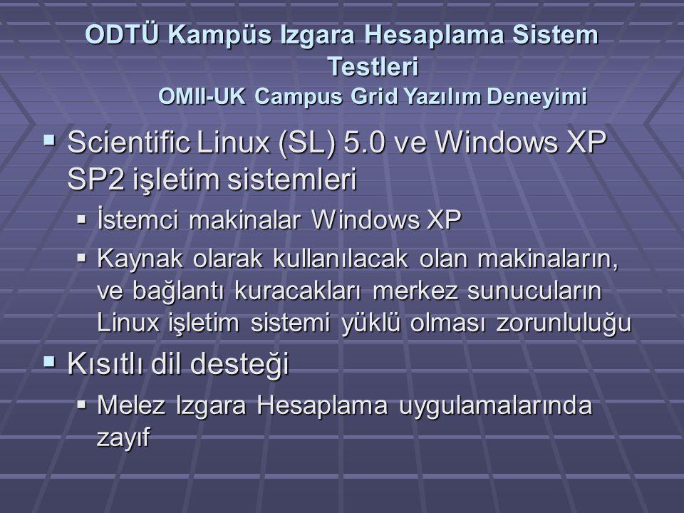 ODTÜ Kampüs Izgara Hesaplama Sistem Testleri OMII-UK Campus Grid Yazılım Deneyimi  Scientific Linux (SL) 5.0 ve Windows XP SP2 işletim sistemleri  İstemci makinalar Windows XP  Kaynak olarak kullanılacak olan makinaların, ve bağlantı kuracakları merkez sunucuların Linux işletim sistemi yüklü olması zorunluluğu  Kısıtlı dil desteği  Melez Izgara Hesaplama uygulamalarında zayıf