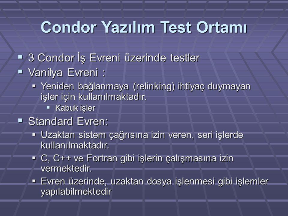 Condor Yazılım Test Ortamı  3 Condor İş Evreni üzerinde testler  Vanilya Evreni :  Yeniden bağlanmaya (relinking) ihtiyaç duymayan işler için kullanılmaktadır.