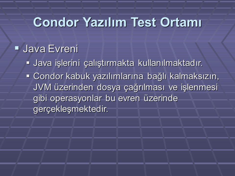 Condor Yazılım Test Ortamı  Java Evreni  Java işlerini çalıştırmakta kullanılmaktadır.