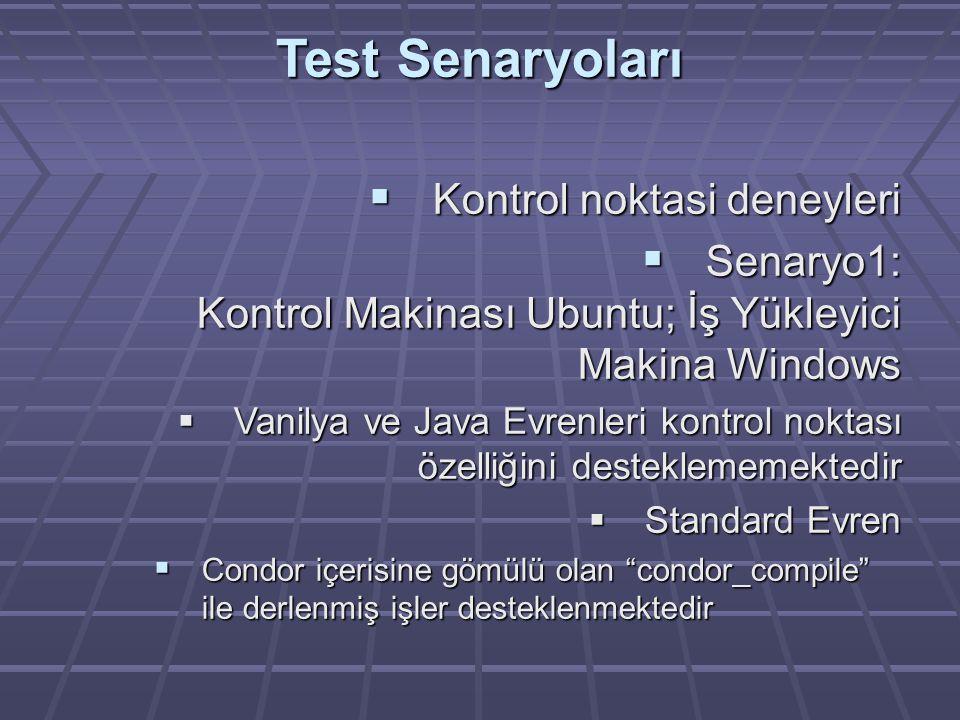 Test Senaryoları  Kontrol noktasi deneyleri  Senaryo1: Kontrol Makinası Ubuntu; İş Yükleyici Makina Windows  Vanilya ve Java Evrenleri kontrol noktası özelliğini desteklememektedir  Standard Evren  Condor içerisine gömülü olan condor_compile ile derlenmiş işler desteklenmektedir