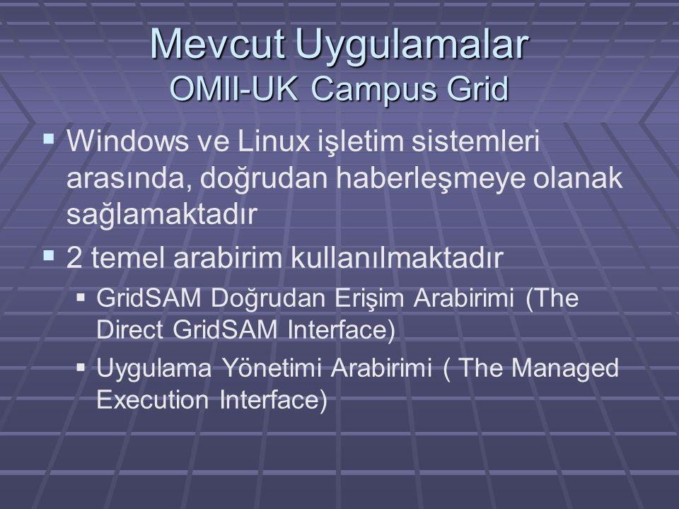 Mevcut Uygulamalar OMII-UK Campus Grid  Windows ve Linux işletim sistemleri arasında, doğrudan haberleşmeye olanak sağlamaktadır  2 temel arabirim kullanılmaktadır  GridSAM Doğrudan Erişim Arabirimi (The Direct GridSAM Interface)  Uygulama Yönetimi Arabirimi ( The Managed Execution Interface)