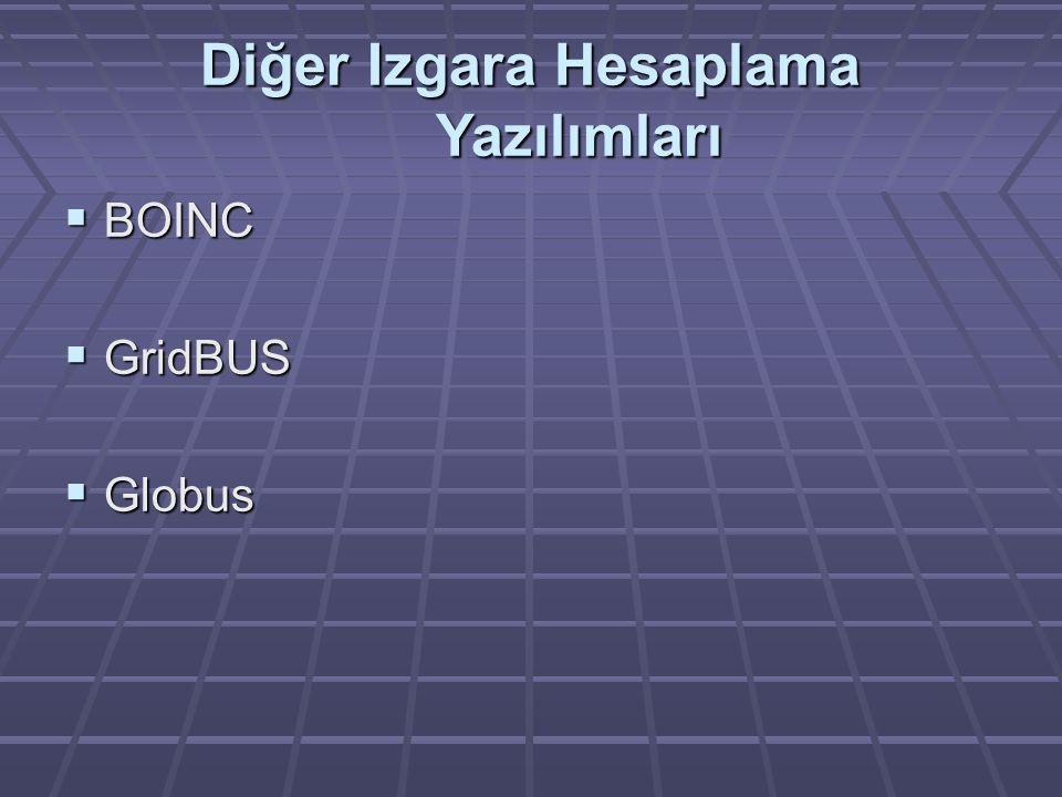 Diğer Izgara Hesaplama Yazılımları  BOINC  GridBUS  Globus