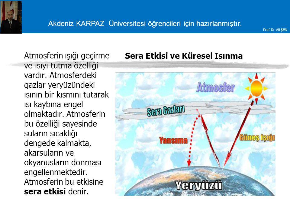 Akdeniz KARPAZ Üniversitesi öğrencileri için hazırlanmıştır. Prof. Dr. Ali ŞEN Sera Etkisi ve Küresel Isınma Atmosferin ışığı geçirme ve ısıyı tutma ö